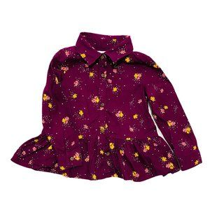 Old Navy Maroon Floral Print Skirted Blouse